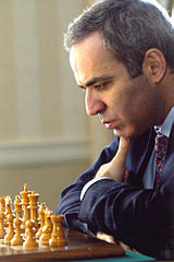 Garry Kasparov concentrating playing chess