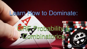 Video lesson teaching GRE probability and combinatorics concepts